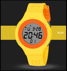Girls Boys Digital Watch Orange Student Waterproof Silicone Band Led Week Display Led Luminous Electronic Wrist Watch