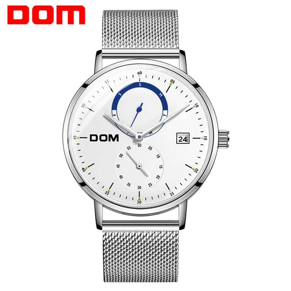 DOM Men Watches Luxury Brand Multi Function Mens Sport Quartz Watch Waterproof Steel Belt Business Clock Wrist Watch M-436D-7M