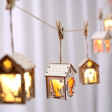 Cute Luminous Small Wooden House Hanging Ornaments For Christmas Tree Festive Party Supplies Decoration