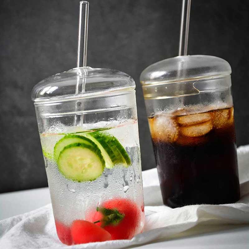 460ml Heat Resistant Glass Cup Transparent Coffee Mug With Lid Straw Home Milk Juice Flower Tea