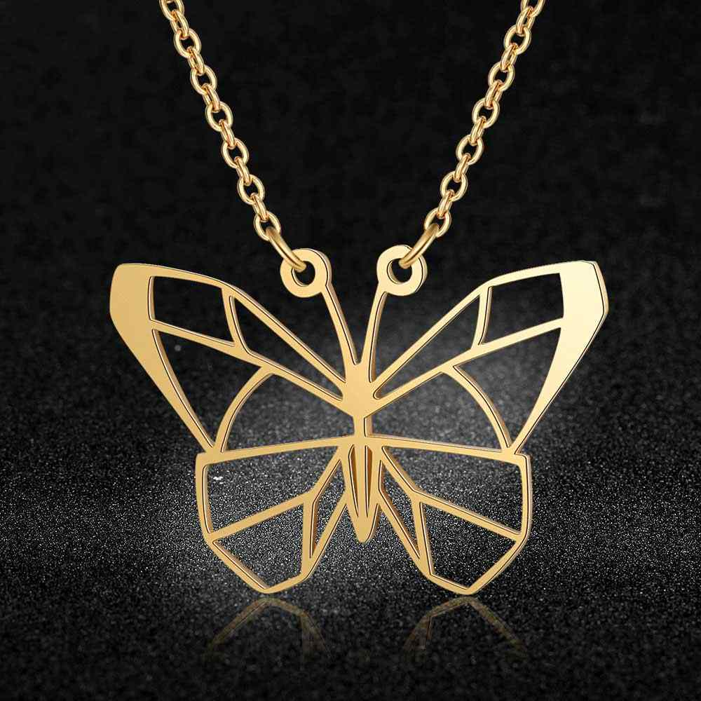 100% Real Stainless Steel Hollow Butterfly Necklace Trend Jewelry Necklaces Amazing Design Unique Animal Jewelry Necklace