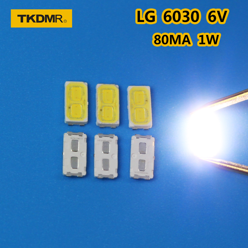 TKDMR 120pcs/LOT LG SMD LED 6030 6V 1W Cold White For TV Backlight LED Beads Free Shipping