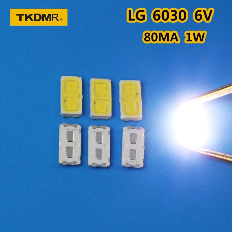 TKDMR 120pcs/LOT LG SMD LED 6030 6V 1W Cold White For TV Backlight LED Beads Free Shipping