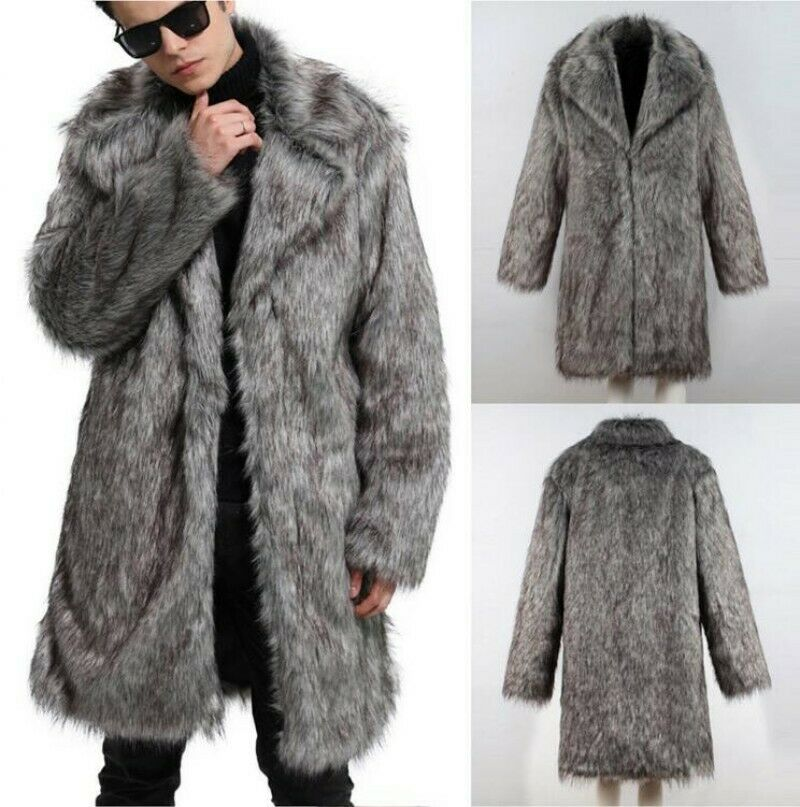 2019 New Mens Thick Faux Fox Fur Overcoat Parka Trench Lapel Casual Outwear Coat Winter Warm Outdoor Coat
