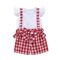 Summer Infant 2pcs Set Casual Clothes Baby Girl Cute Short Sleeve T Shirt Bow Plaid Strap Shorts Outfits Set