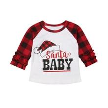 Emmababy Toddler Kids Baby Girls Xmas Checks Santa Ruffles Plaid Long Sleeve Tops T shirt Clothes Tee Shirt
