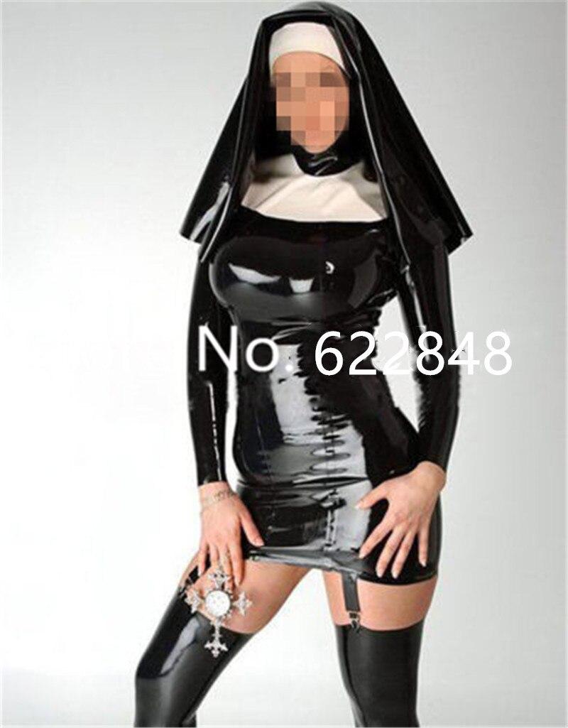 Uniforme de reine des religieuses en Latex avec jarretière en caoutchouc robe Costumes avec capuche Clubwear sexy costumes d'halloween