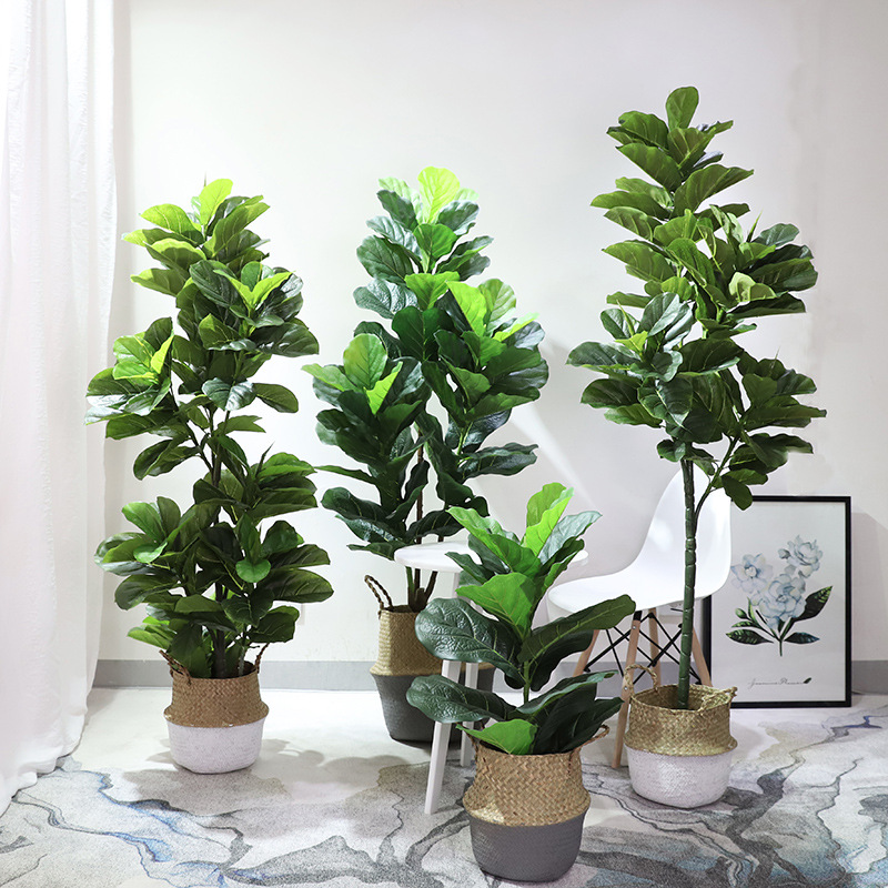 Northern European-Style Model Ficus Lyrata Potted Plant Indoor Decoration Green Vegetation Large Bonsai Artificial Flower INS Ho