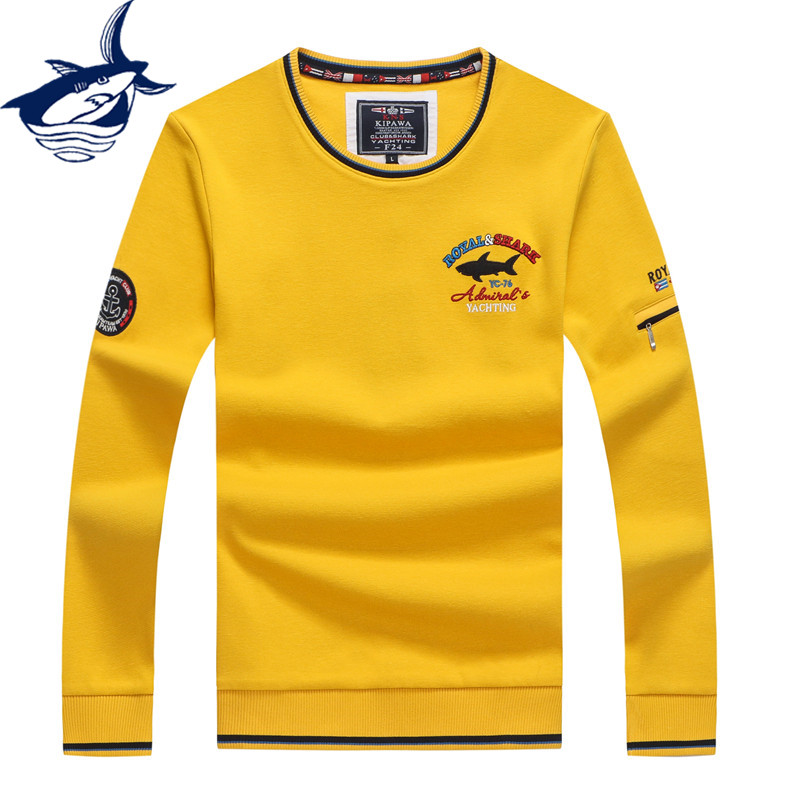 2019 High Quality Fashion Men's Sweater O-Neck Knitted Wear Casual Pullovers Tace & Shark Brand Sweaters Yellow Red Navy White