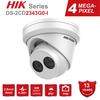 Hikvision 4MP Turret PoE IP Camera Outdoor DS-2CD2343G0-I HD POE Network IR Security CCTV Camera Built-in SD Card Slot Upgrade