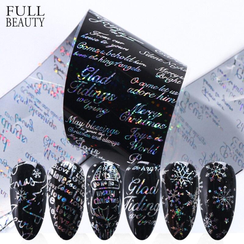 10pcs Laser Letter Nail Stickers Transfer Foils For Nails Snowflakes Elk Love Design Valentine Sets DIY Manicure Slide CH9119