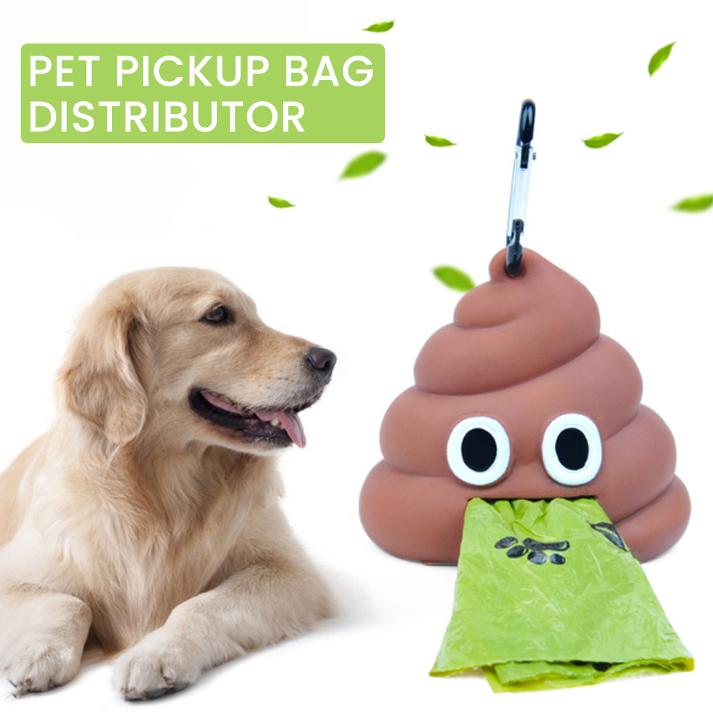 Cute Shit-shaped Dog Cat Waste Bags Pet Poop Bag Portable Dog Poop Dispenser Holder Pets Cleaning Products For Outdoor