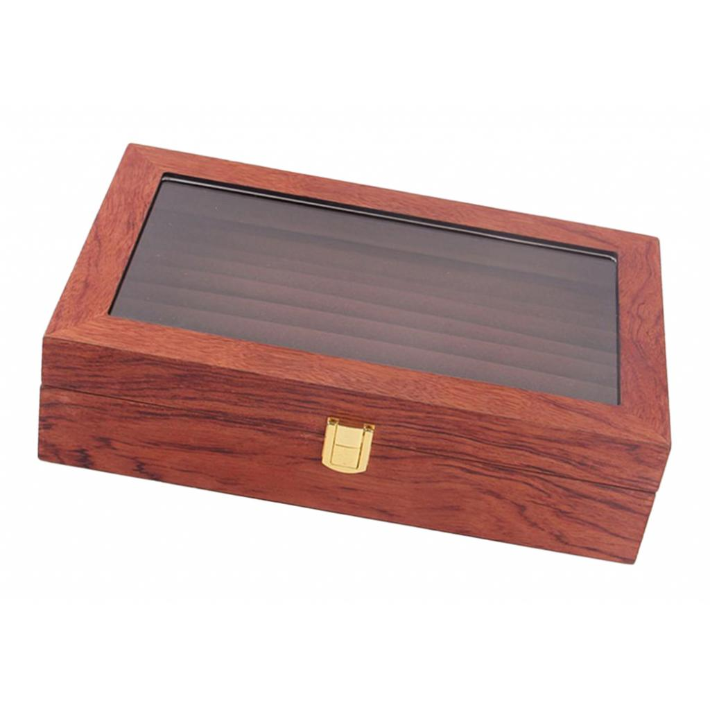 Glass Lid Rosewood Ring Tray Jewellery Display Storage Box Jewelry Holder Storage Organizer Stand, 9 Slots
