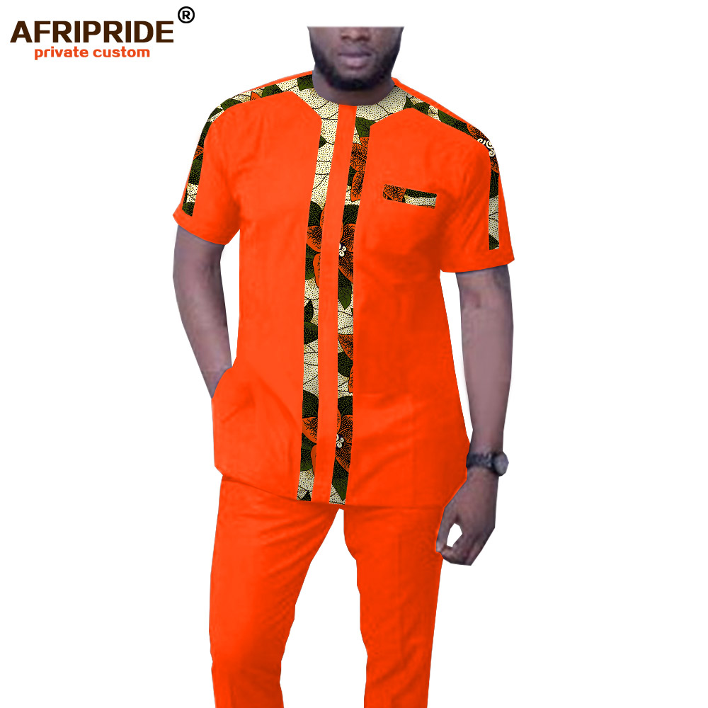 African Men`s Tracksuit Dashiki Printed Blouse And Pants Set Ankara Clothing Short Sleeve Shirts Suit AFRIPRIDE A1916045
