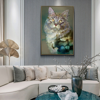 Nordic Decoration Painting Maine Coon Cat pet Modern Decoration Hanging Painting Hotel Living Room Bedroom Background Wall