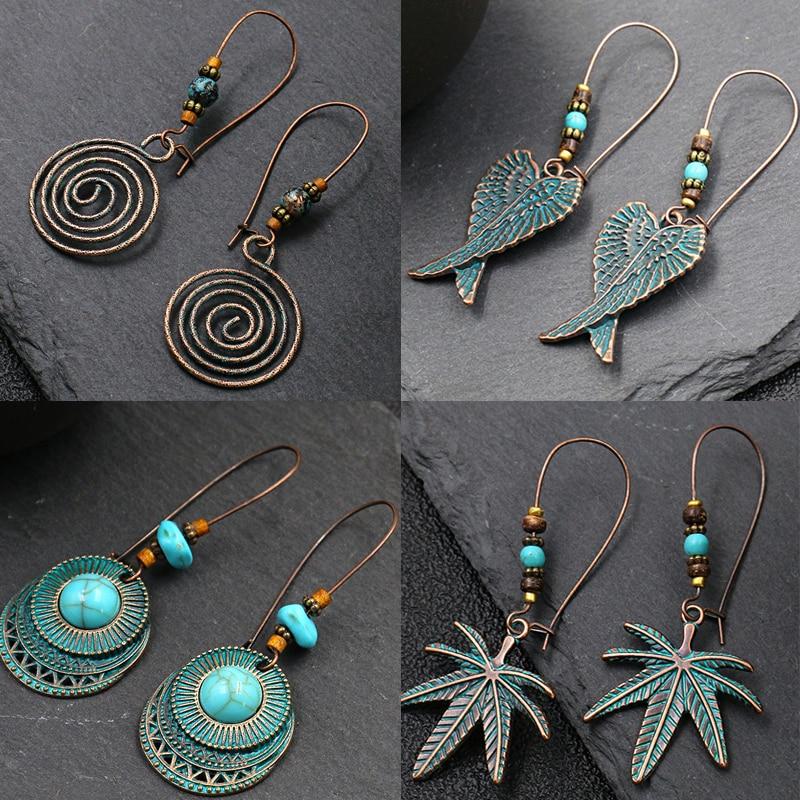Fashion Vintage Earrings For Women Unique Design Small Geometric Earrings Creative Hollow Alloy Earrings Popular Jewelry Female