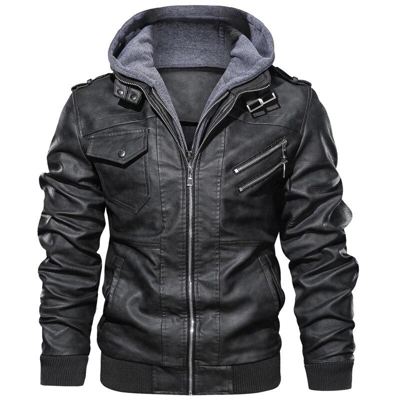 Men's Autumn Winter Motorcycle Leather Jacket Windbreaker Hooded PU Jackets Male Outwear Warm Baseball Jackets Plus Size 3XL