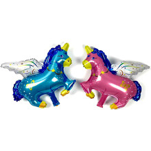 1pcs cute unicorn small Pegasus foil flip-flops happy birthday party home decoration gifts wedding baby toys Globos(China)