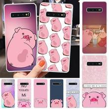 Ivits Cute pig TPU black Phone Case Cover Hull For Samsung S6 S7 S7edge S8 S8plus S9 S9plus S10 S10 plus E cheap gear vr 5 0 3d vr glasses helmet built in gyro sens for samsung galaxy s9 s9plus s8 s8 note5 note 7 s6 s7 s7edge