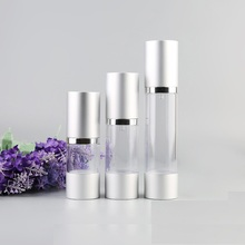 15ml 30ml 50ml Silver Empty Cosmetic Airless Bottle Portable Refillable Airless Lotion Bottle WB1969