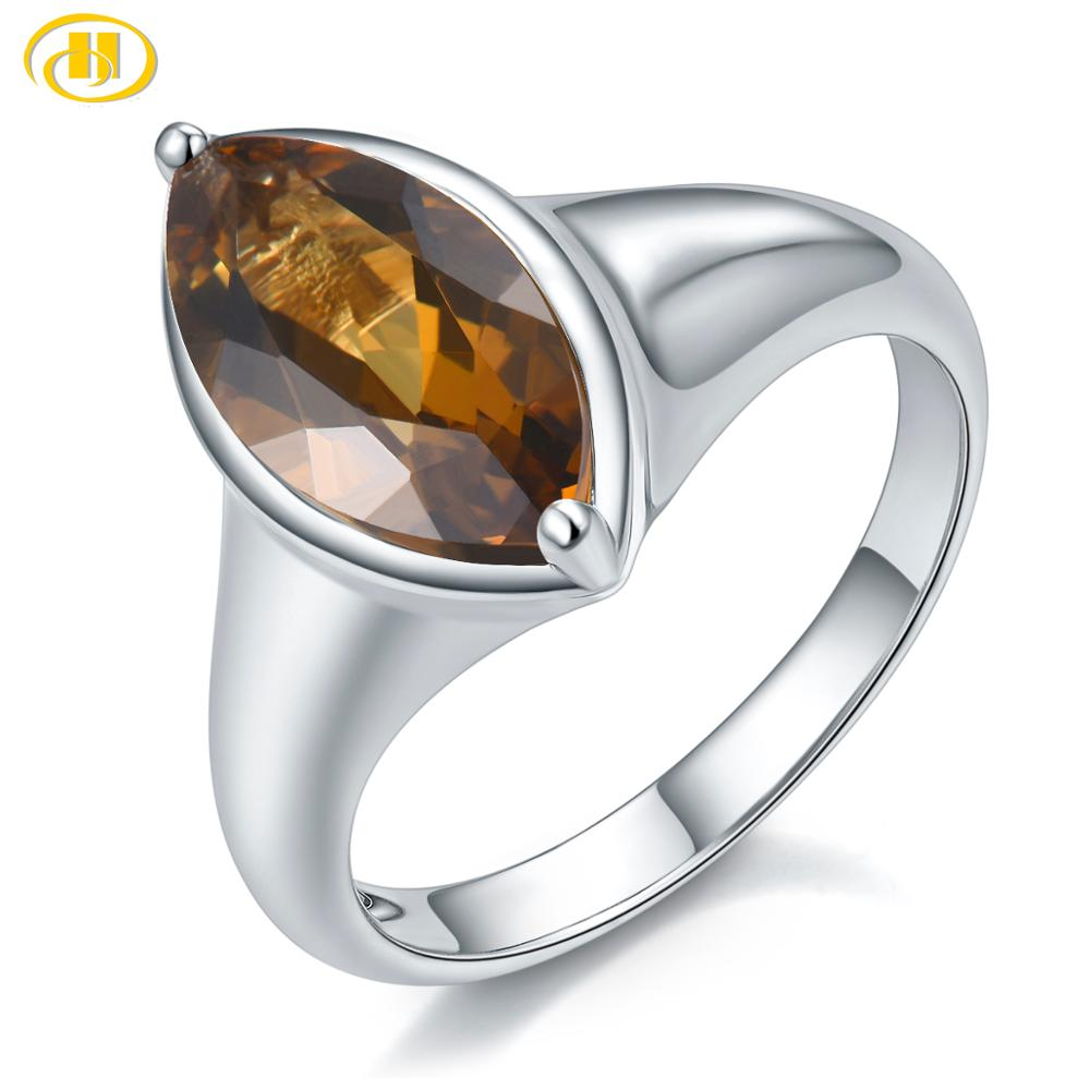 Hutang Vintage 100% 925 Sterling Silver Marquise Citrine Wedding Engagement Couple Lover Women Men Ring Genuine Gemstone Jewelry