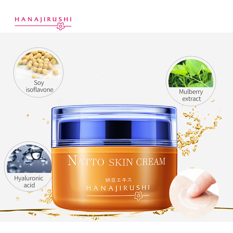 HANAJIRUSHI Natto Face Cream Firming  Brightening Skin Cream Anti-winkle Anti-age Day Cream Nigh Cream 55ml