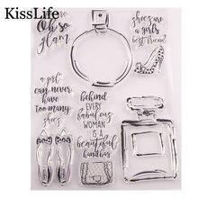 1 hoja Vintage botella de Perfume zapatos bolso letras sellos de goma transparente para tarjetas de Scrapbooking hacer sellos de Navidad