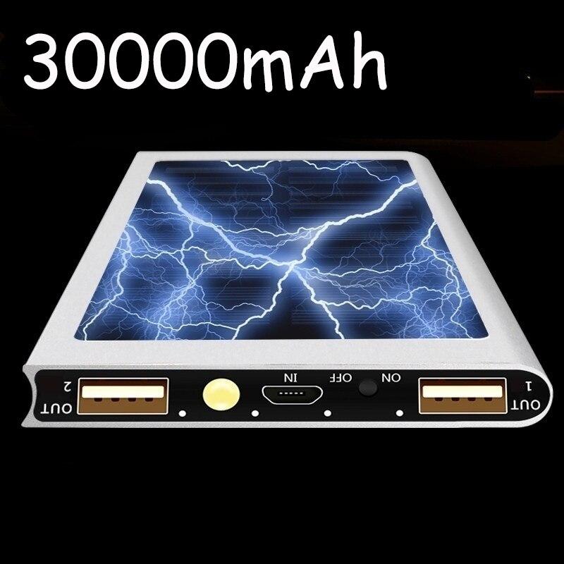 Solar Portable Waterproof Portable Power Bank 30000 MAh for All Smart Phone Battery Powerbank Fast Charging External Battery LED