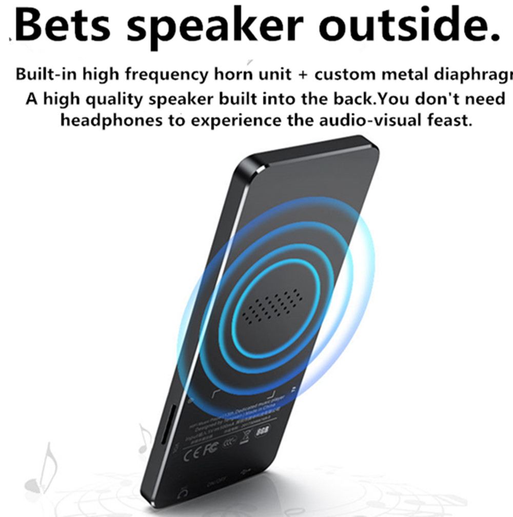 NEW1.8 inch metal touch MP3 MP4 music player Bluetooth 4.2 supports card, with FM alarm clock pedometer e-book built-in speaker