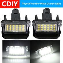 2X Error Free 18 LED Car Number License Plate Light for Toyota Yaris Vitz Camry Hybrid Corolla Avensis SAI Noah Prius C Verso S 2pcs for toyota yaris camry corolla prius ractis verso led number license plate car driving rear lights kit car styling page 3 page 1