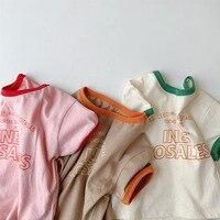 Newborn Lässige Sommer Neue Kleidung Jungen Brief Gedruckt Spleißen Kurzarm T-shirt Kleinkind Nette Baumwolle Dünne Tops