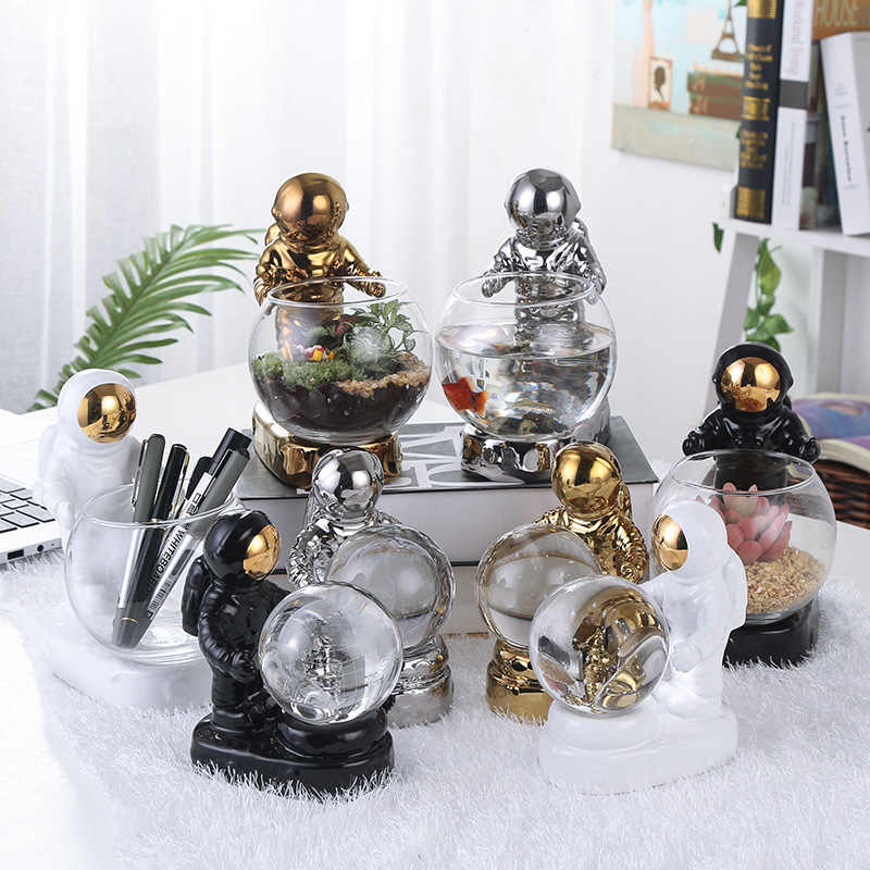 Modern creative minimalist glass micro landscape fish tank ceramic astronaut rocket flying saucer crafts home crafts ornaments