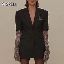 Женский блейзер sispell с сетчатым поясом куртка отложным воротником