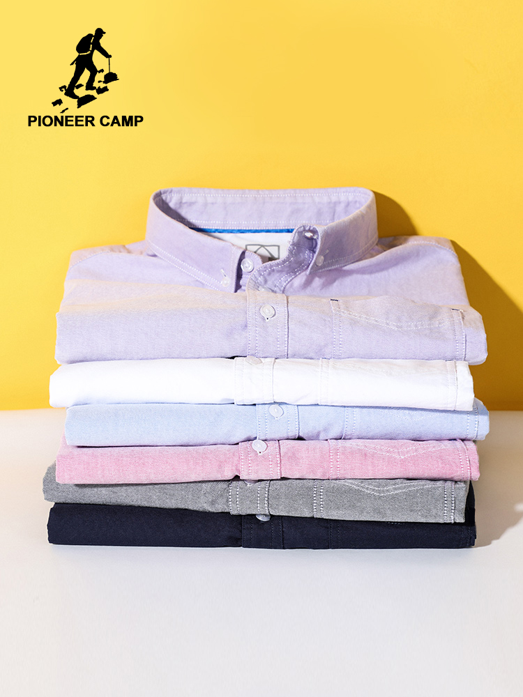 Pioneer Camp 2020 Solid Color Basic Oxford Shirt Mens 100% Cotton Spring Summer High-quality Male Casual Men's Tops ACC0207151