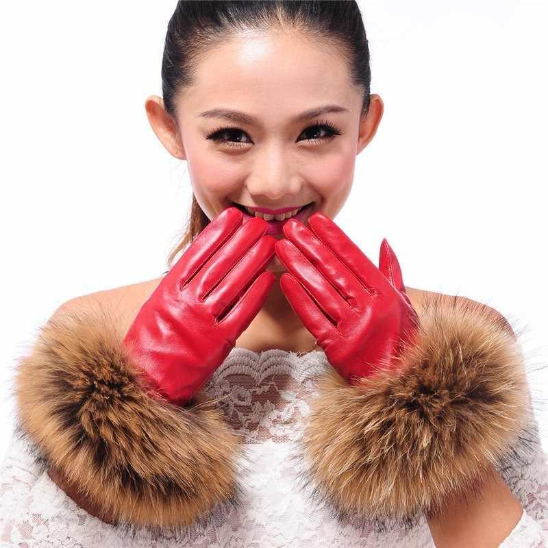 高級女性の冬シープスキンタッチスクリーン手袋本物のアライグマの毛皮本革手袋女性黒赤暖かいフリースミトン