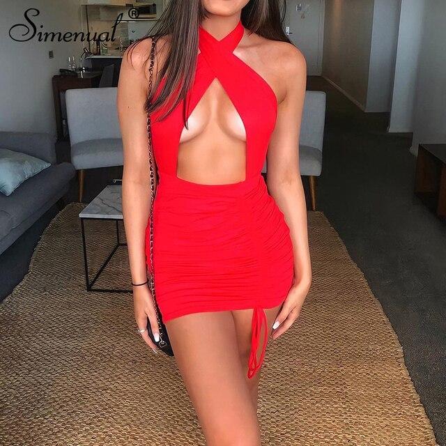 Simenual-Vestido corto femenino ajustado con cuello Halter para verano, minivestido Sexy con cordón para mujer, para fiesta, Club nocturno y cumpleaños 5
