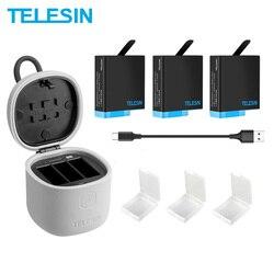 TELESIN, 3 комплекта аккумуляторов, 3 слота, зарядное устройство, набор, устройство для чтения карт TF, зарядное устройство для Gopro 8 Hero 8 7 Black Hero 6 Hero ...
