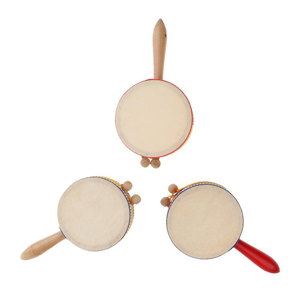 Exquisite Children Rattle-Drum Rattle Toys Gift Hand Shaker Mini Percussion Dia. 10cm