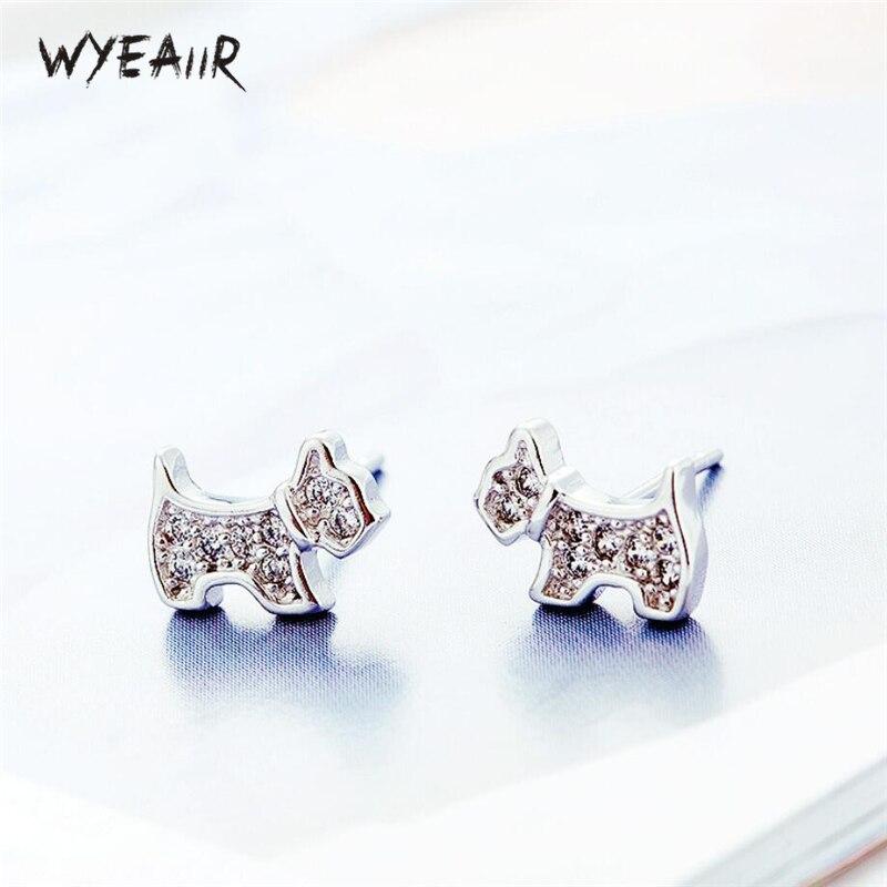 WYEAIIR Cute Delicate Zircon Puppy Sweet Fashion Dog 925 Sterling Silver Female Stud Earrings