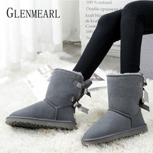 Купить с кэшбэком Women Snow Boots Genuine Leather Winter Shoes Warm Bow-knot Ankle Boots Fur Shoes Woman Platform Round Toe Plus Size Boats Mujer
