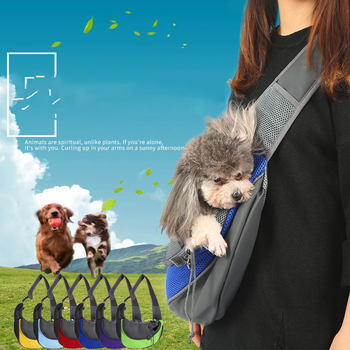 Outdoor Pet Bag Dog Cat Handbag Pouch Carrier Small Dogs Single Shoulder Bags Travel Front Mesh Oxford Portable Puppy Products - Green, L