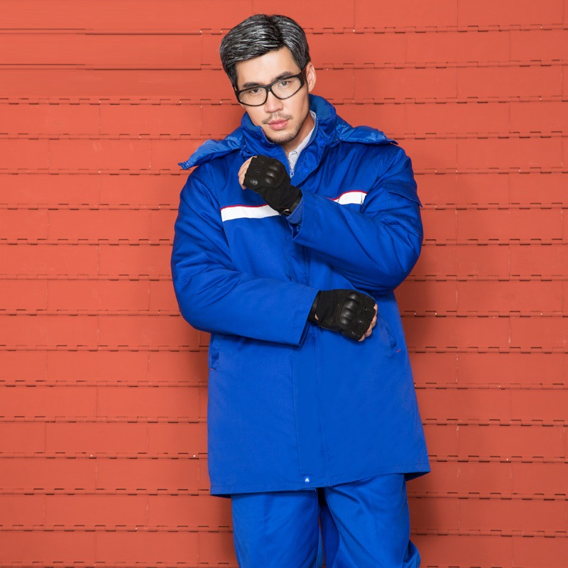 Work Clothes Winter Long Sleeve Thick Anti-static Overall Suit Gas Station Reflective Strips Labor Safety Cotton Coat Customizab