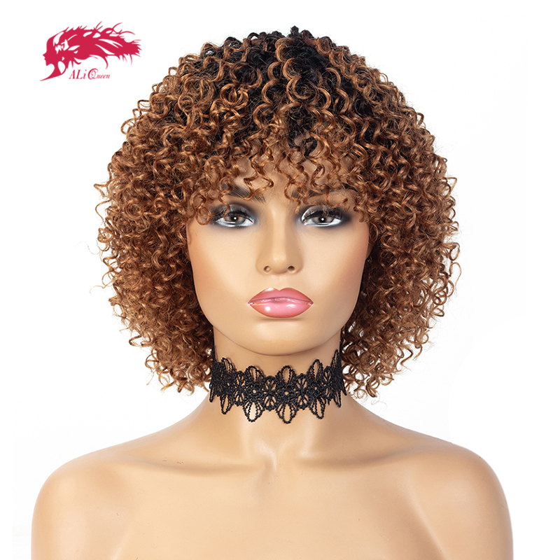 Short Deep Wave Wigs For Black Women 150% Density Brazilian Remy Human Hair Wigs With Bangs Full Machine Wig