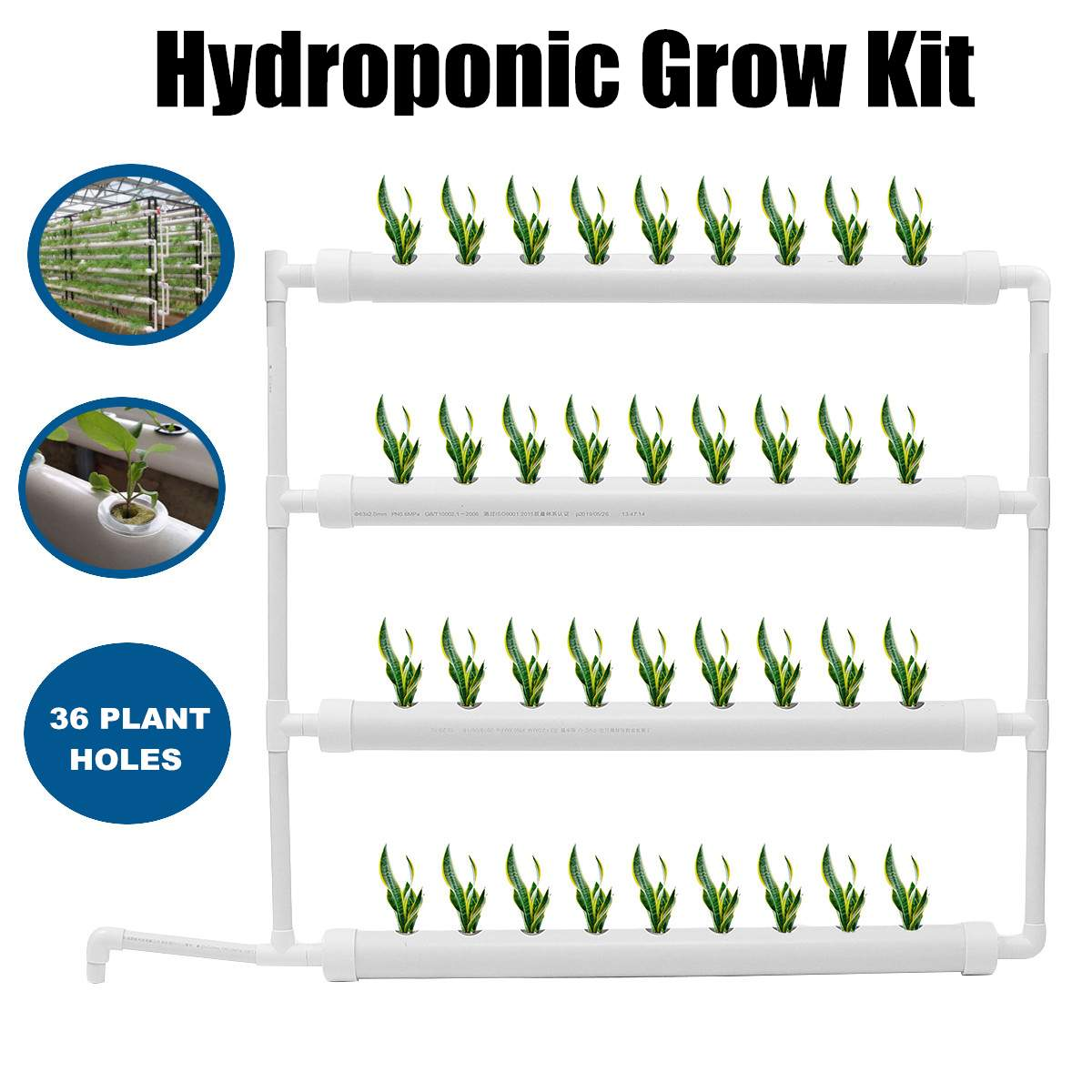 PVC 4 Pipes Wall-mounted Hydroponic Nursery Pots Rack 63mm 36 Plant Sites Growing Kit Water Pump Tube Set White Garden Tools