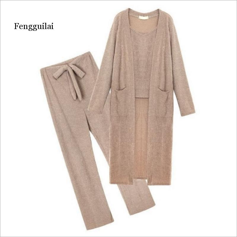 Spring New Women's Sling Knit Cardigan Suit Female Korean Fashion Loose Trousers Three-piece