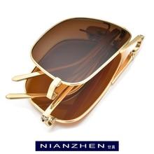 NIANZHEN Pure Titanium Polarized Sunglasses Men Ultralight Folding Square Sun Gl