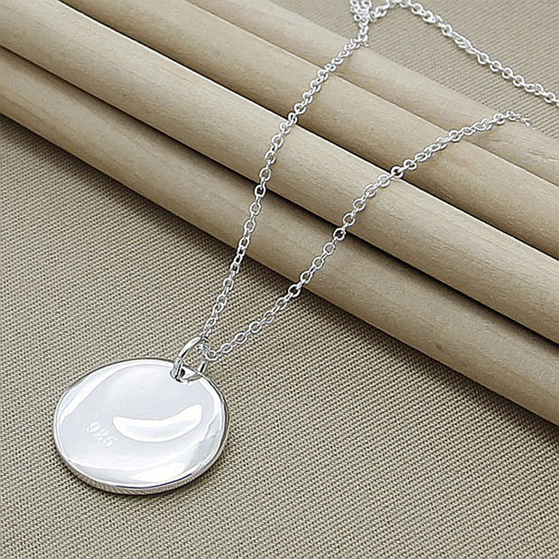 Wholesale Price 925 Sterling Silver Round Charm Pendant Necklaces For Women New Fashion Jewelry Chokers Necklaces