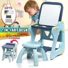 2 in 1 Art Desk Foldable Children Tables Adjustable Desk and Chair Combination Desktop Kid Writing board Drawing Easel blue