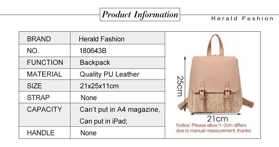 H7b19542c0d3547608d752d9c062d87118 Herald Fashion Straw Woven Backpack Women Back Pack Autumn Teenage Girl Quality Backpacks Travel Bags Kawaii Rucksack Drop Ship