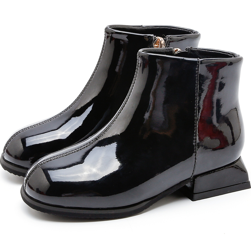 2019 зимние модные ботинки для маленьких девочек; ботильоны из лакированной кожи с квадратным носом для маленьких девочек; вечерние ботинки п